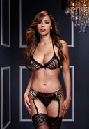 Leopard And Lace Bra Top W/ Garter/panty
