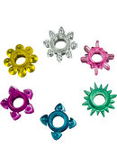 Tower Of Power Cock Rings 6 Pack Multi Color