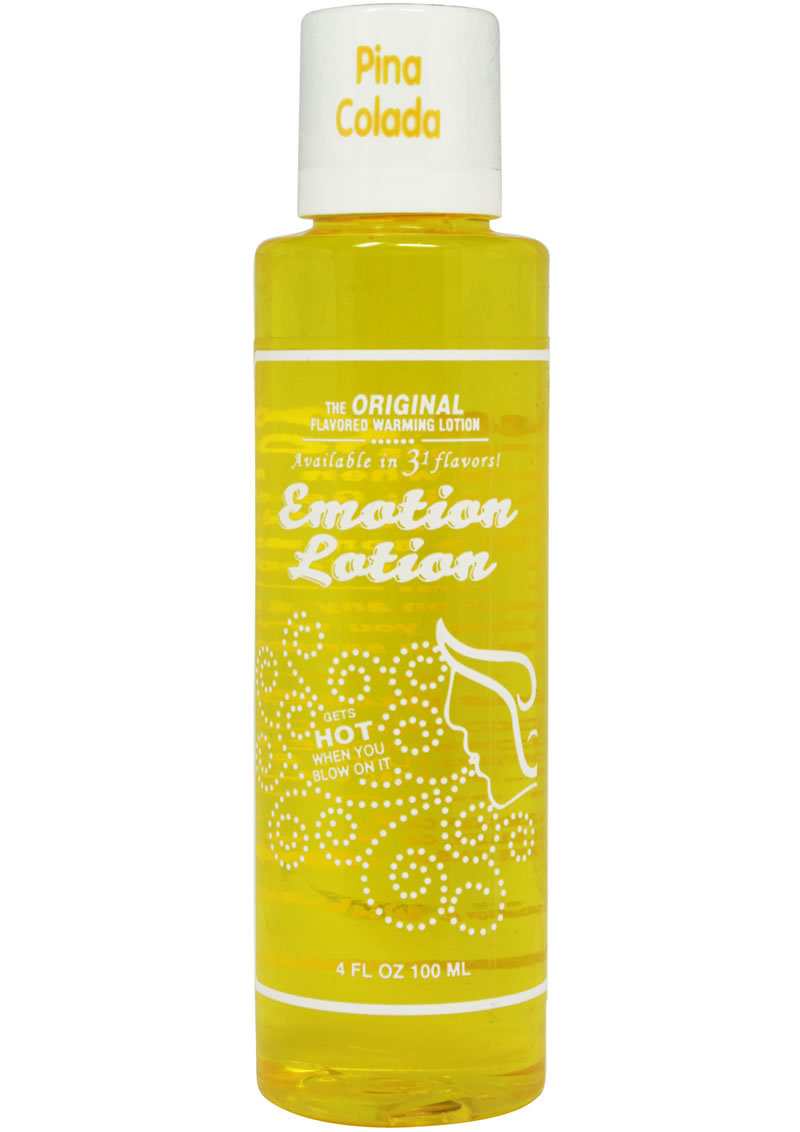 Emotion Lotion Flavored Water Based Warming Lotion Pina Colada 4 Ounce