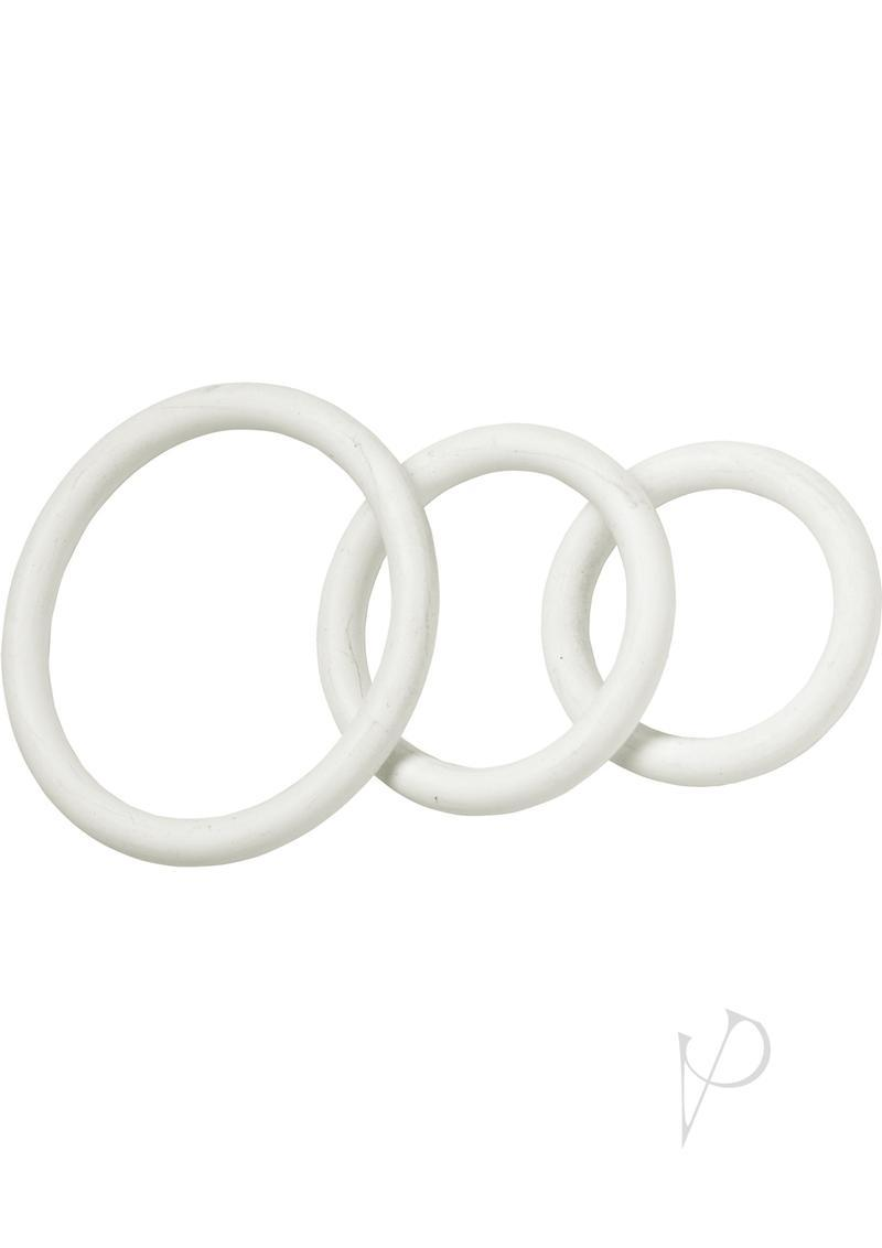 Nitrile Cock Ring Set 3 Sizes Per Pack White