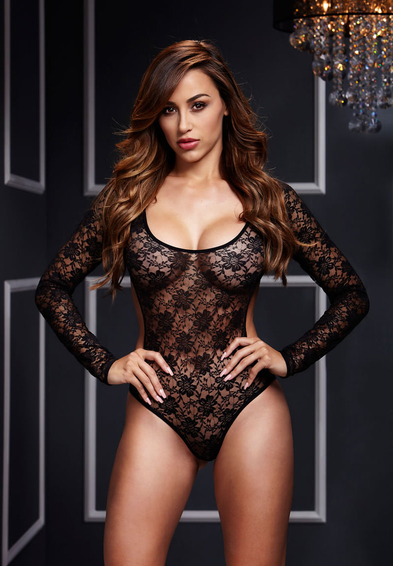 Black Lace Bodysuit Back Cutout 1 Pc