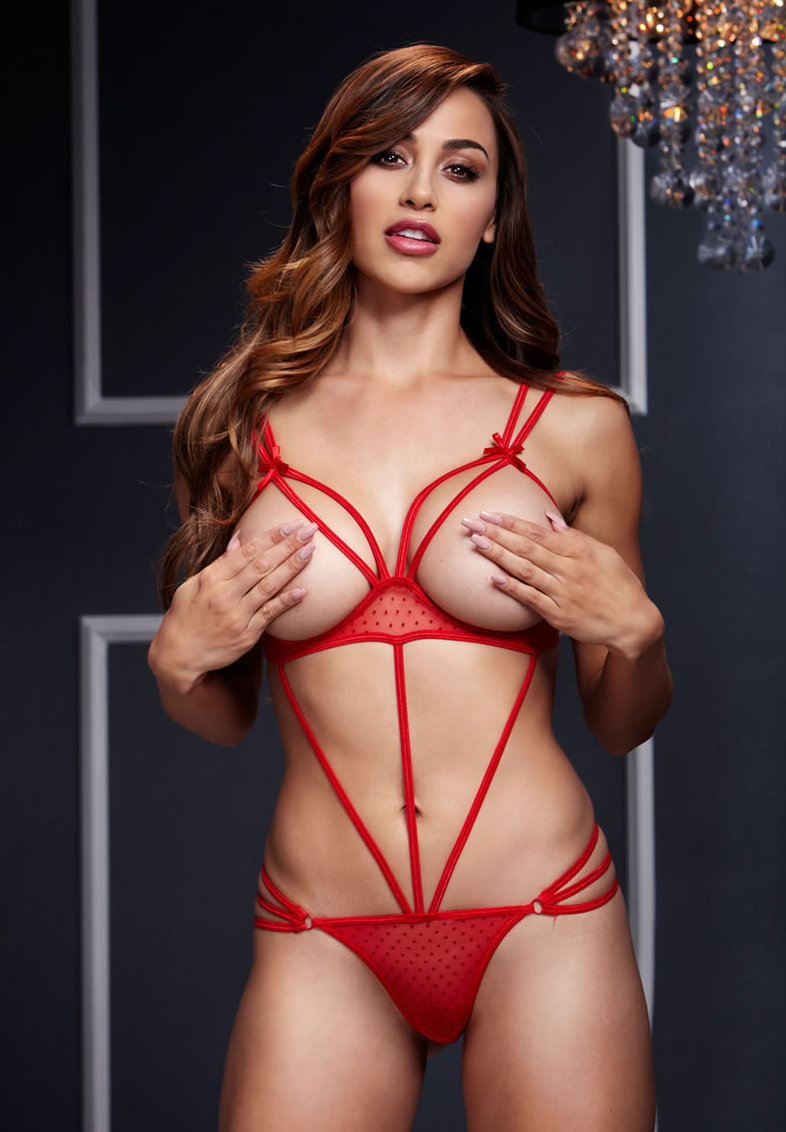 Red Strappy Bodysuit W/ Open Cup Bra