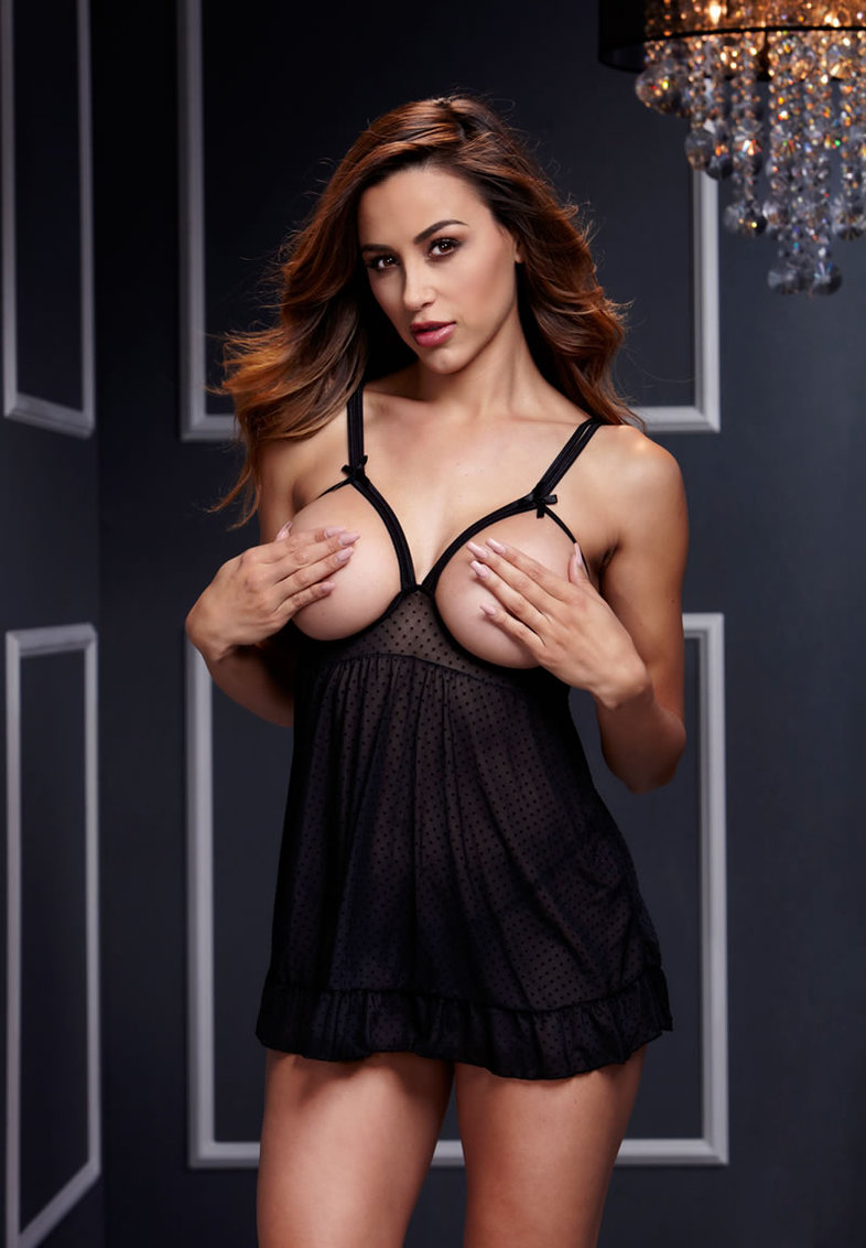 Black Sheer Babydoll W/ Open Cup Bra Pan
