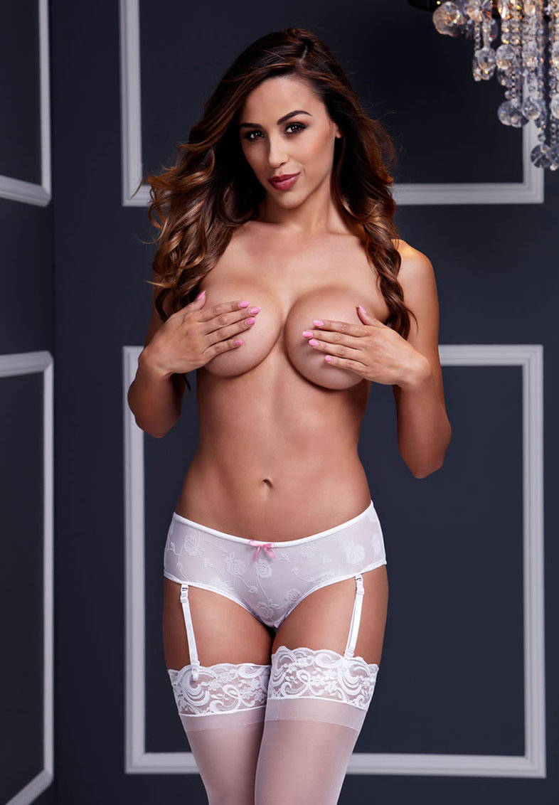 White Rose Open Crotch Boyshort Panty Sm