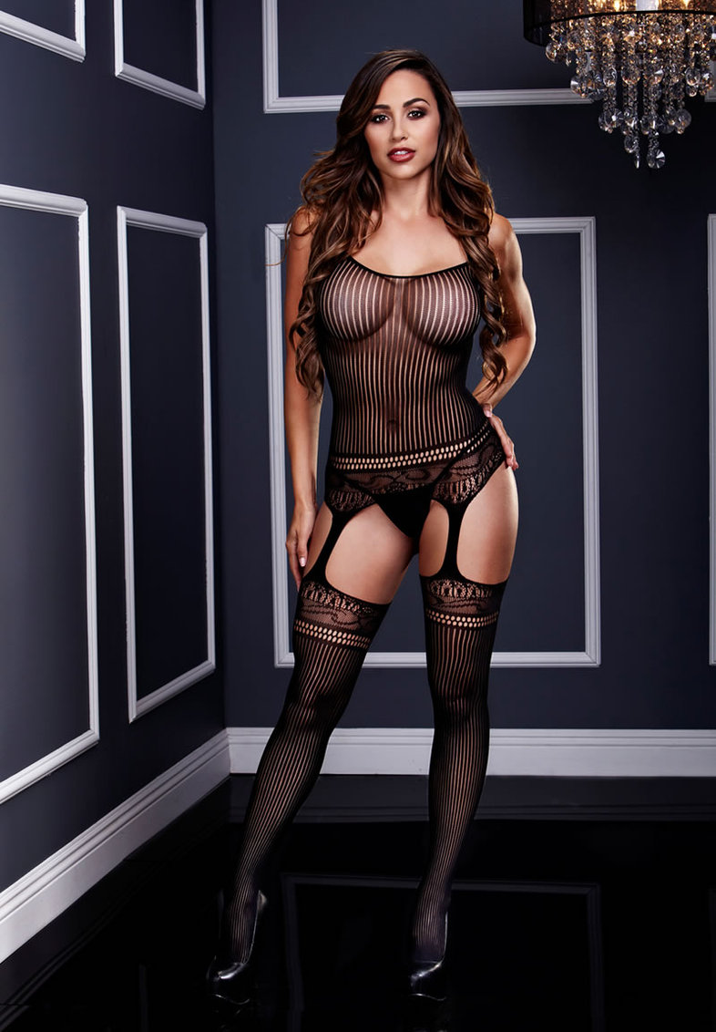 Jacquard Lace Suspender Bodystocking