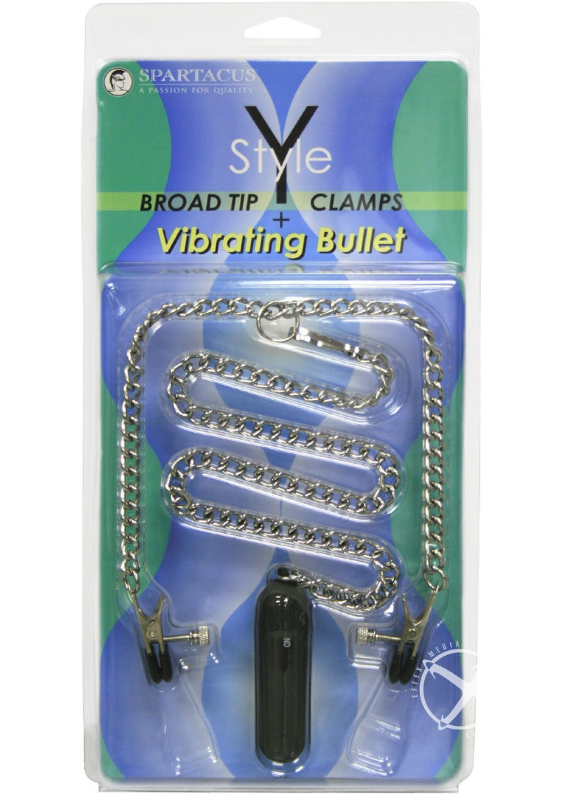 Y Style Broad Tip Nipple Clamps With Bullet 18 Inch Chaine Silver