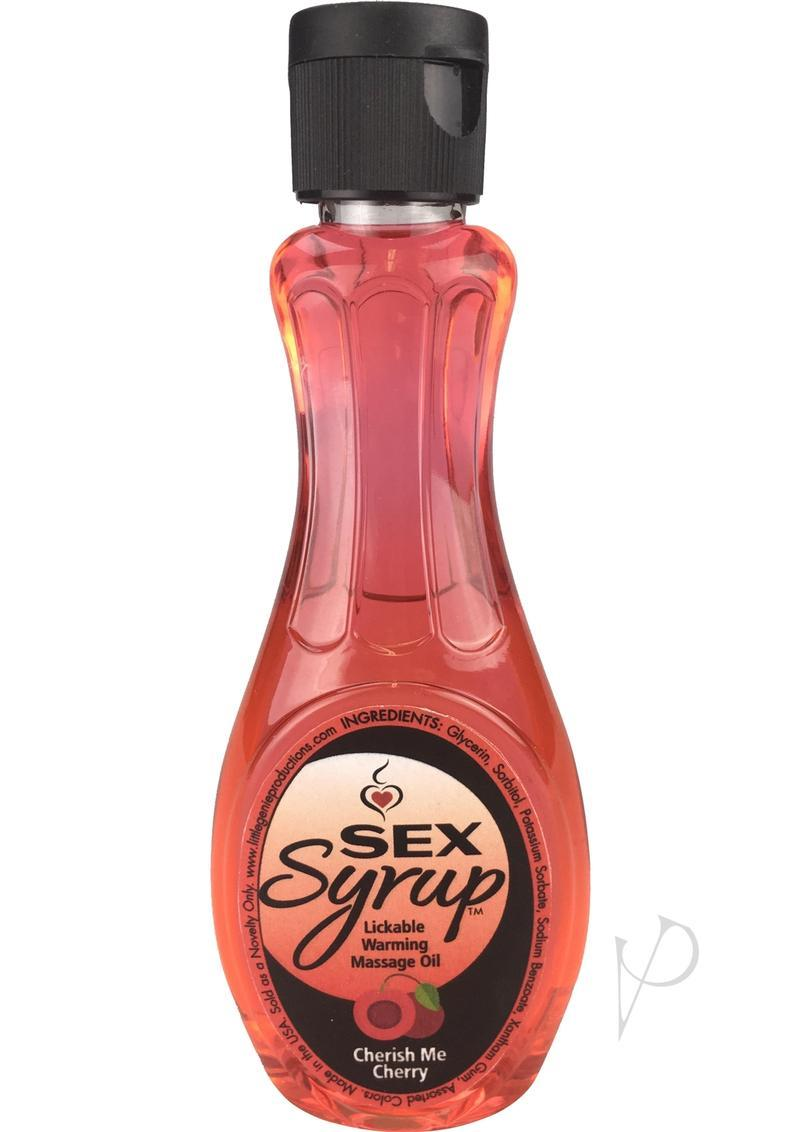 Sex Syrup Lickable Warming Massage Oil Cherish Me Cherry 4 Ounce