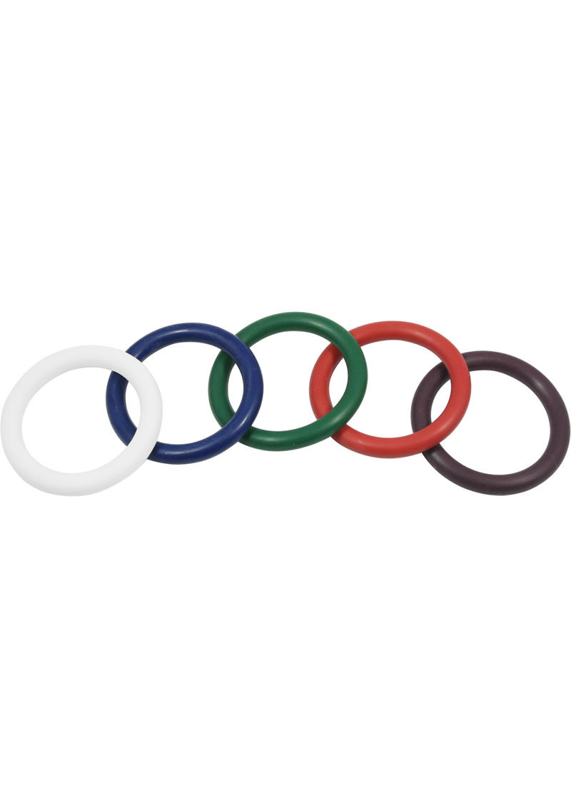 Rubber Cock Ring 5 Per Set 1.25 Inch Rainbow